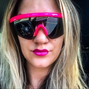 Vintage Inspired Hot Pink Neon Visor Sunglasses